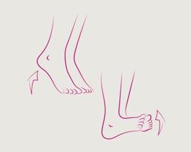 Ilustracija pomicanja peta koja prikazuje vježbu 1 venske gimnastike