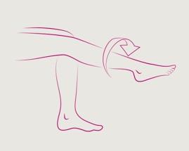 Ilustracija rotirajućeg stopala koja prikazuje vježbu 4 venske gimnastike