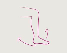 Ikona ljuljajuće noge za vježbe nogu I stopala koje sprečavaju trombozu